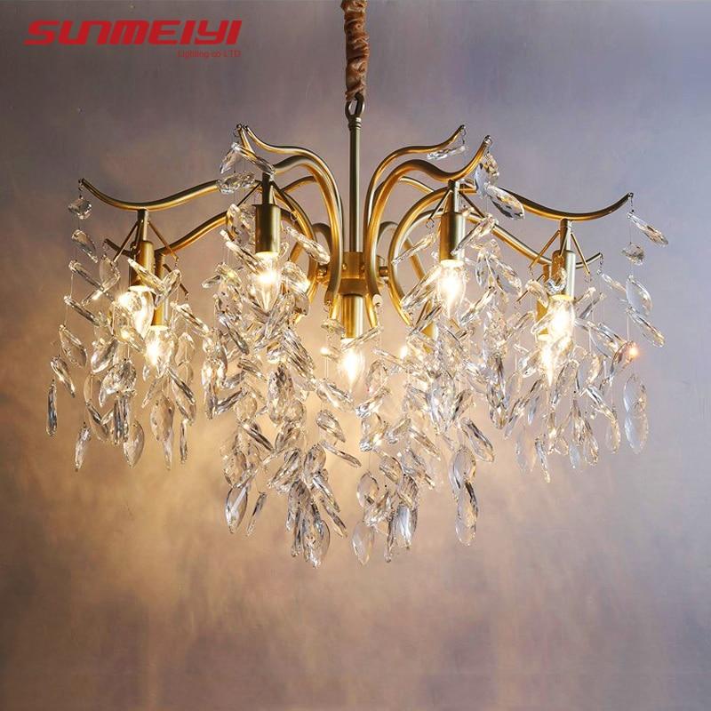 Купить с кэшбэком Nordic LED Crystal Chandeliers Gold Black Chandelier Luxury Lighting Kitchen Dining Living room Bedroom Lamp lustre pendente