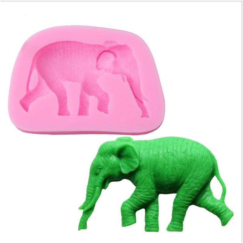 3D Animal patrón pastel elefante decoración herramientas DIY azúcar Fondant silicona molde lindo baqueware accesorios de cocina