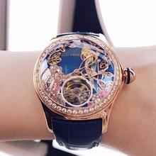 Récif tigre/RT cadran bleu montres de mode pour femmes bracelet en cuir étanche automatique montres diamant Tourbillon montre RGA7105