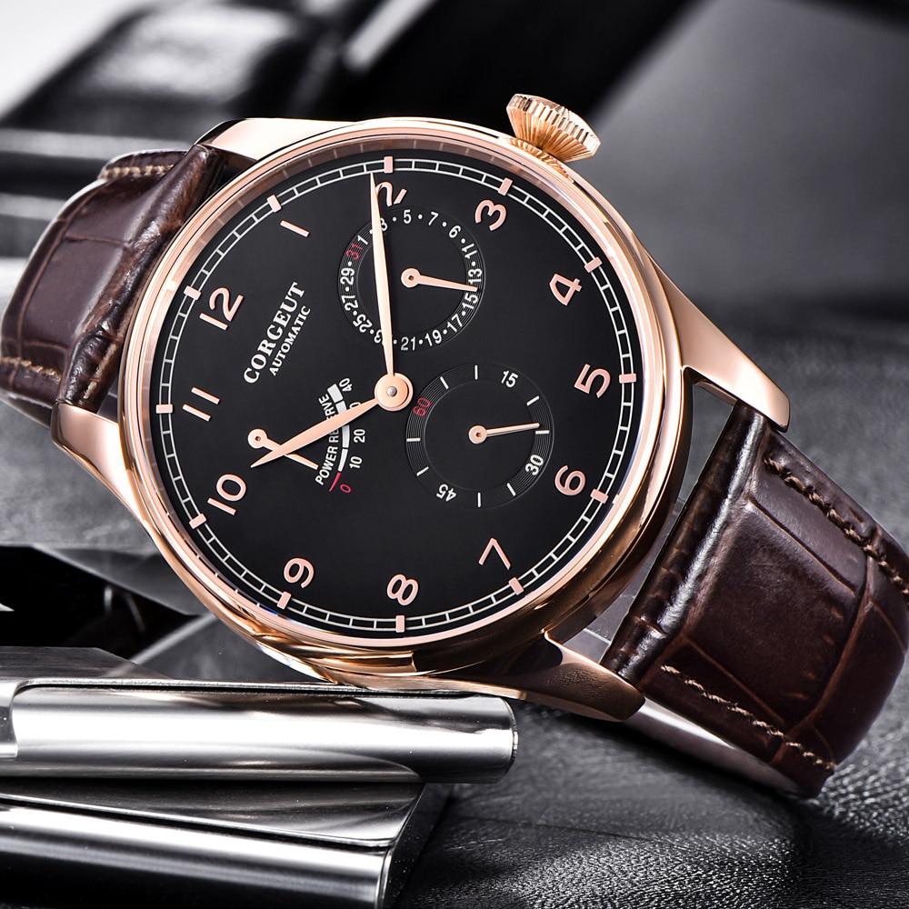 Corgeut 42mm Automatic Mechanical Mens Watch Fashtion Power Reserve Date Business Waterproof Leather Strap Wristwatch Men