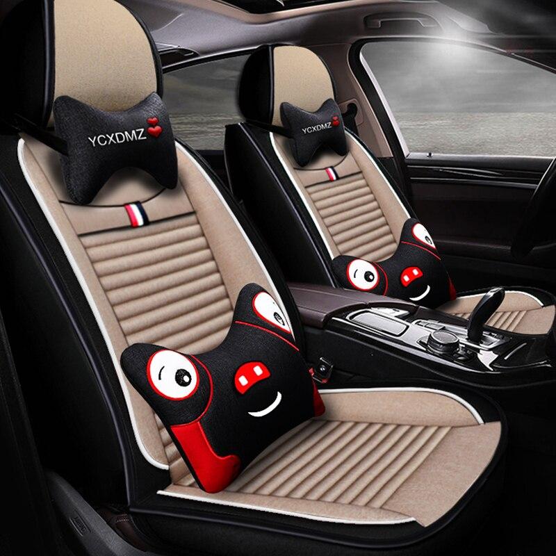 Fundas de asientos de coche de fibra de lino de cobertura completa para Jaguar2008 xe f tipo xf jaguar2008 xj series e pace fpace ipace
