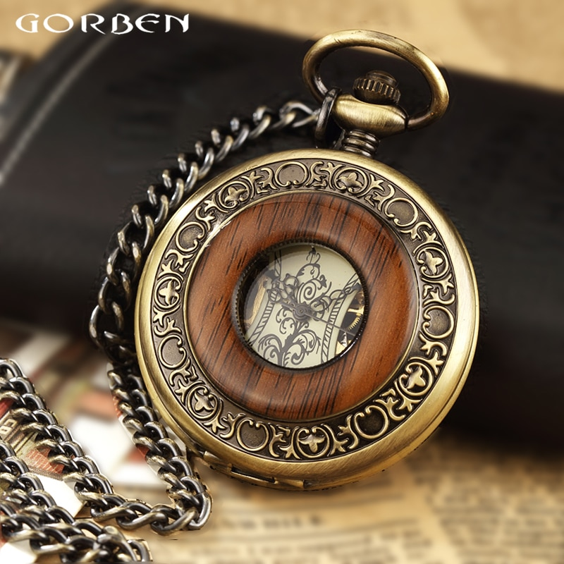 Solid Wood Mechanical Pocket Watch FOB Chain Locket Dial Hollow Steampunk Skeleton Men Women Mens Ma