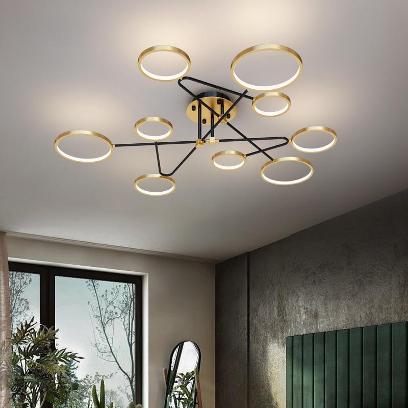 Simple Modern Led Chandeliers Nordic Light Luxury Ring Chandelier for Home Living Room Dining  Bedroom Loft Black Gold