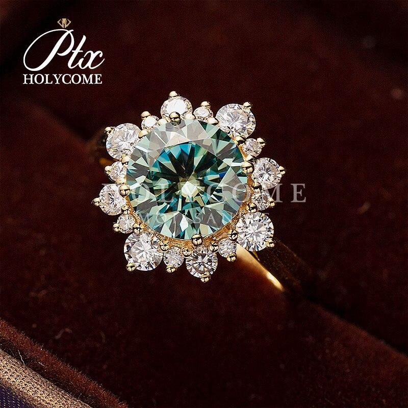 خاتم زواج من الذهب الأصفر المويسانتي باللونين الأزرق والأبيض ، مجوهرات بتصميم زهرة ، للنساء