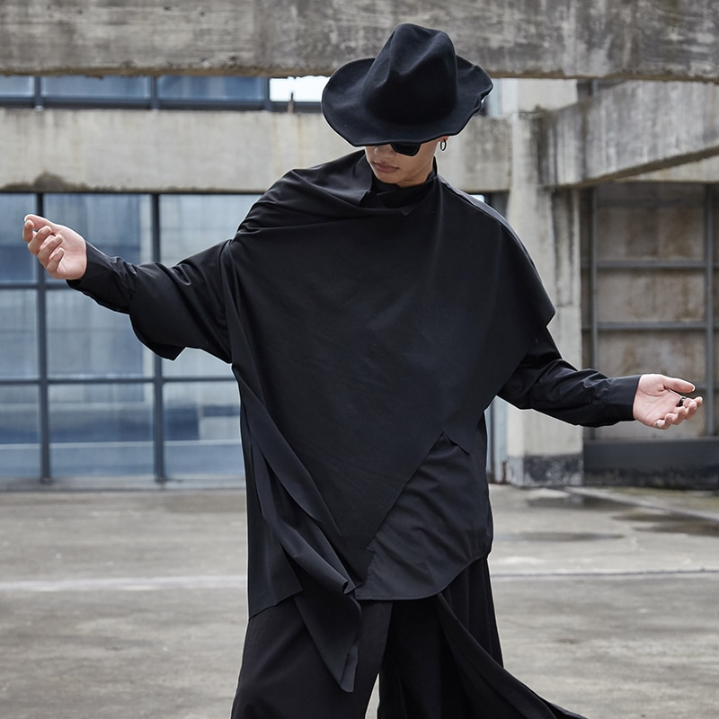 Men Loose Turtleneck Sleeveless Vest Shawl Cape Male Streetwear Hip Hop Punk Gothic Irregular Pullover Jacket Stage Clothing