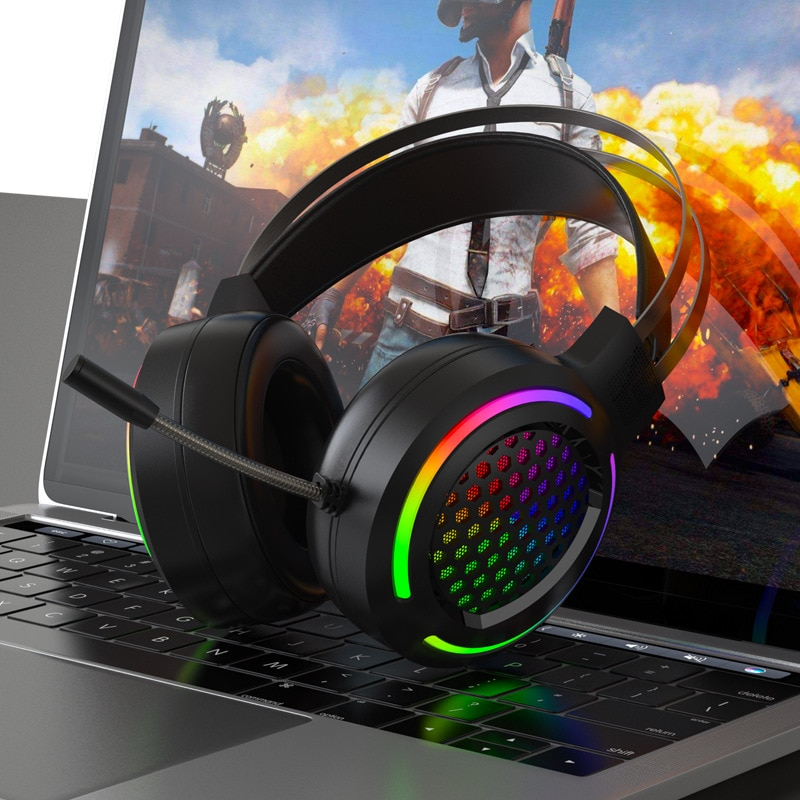 X2 Hole Hollow-out RGB E-Sports PlayerUnknown's Battlegrounds Wired Computer Head-Mounted Heavy Bass USB 7.1 Headset