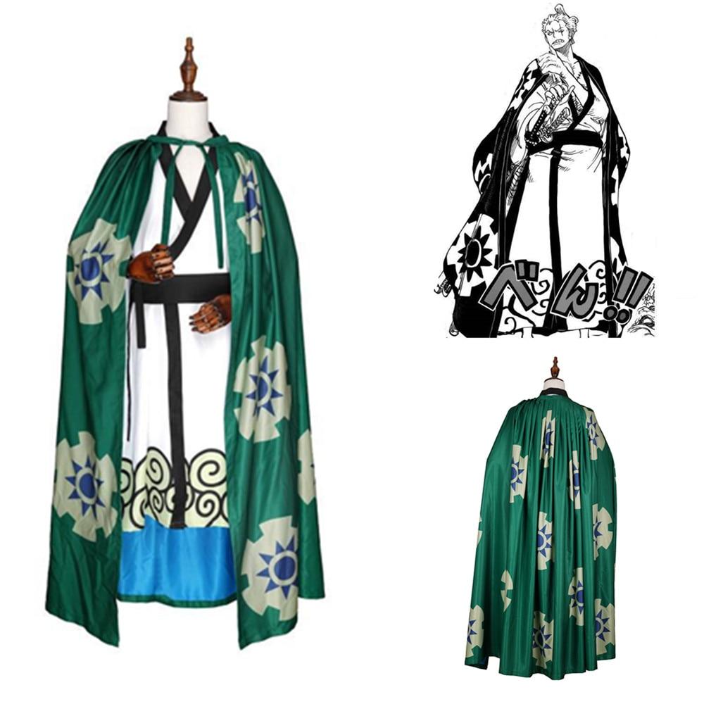 Disfraz de Cosplay de Anime de ONE PIECE Roronoa Zoro, disfraz de Halloween para niños y adultos, disfraz de Roronoa Zoro, kimono, capa, Cosplay
