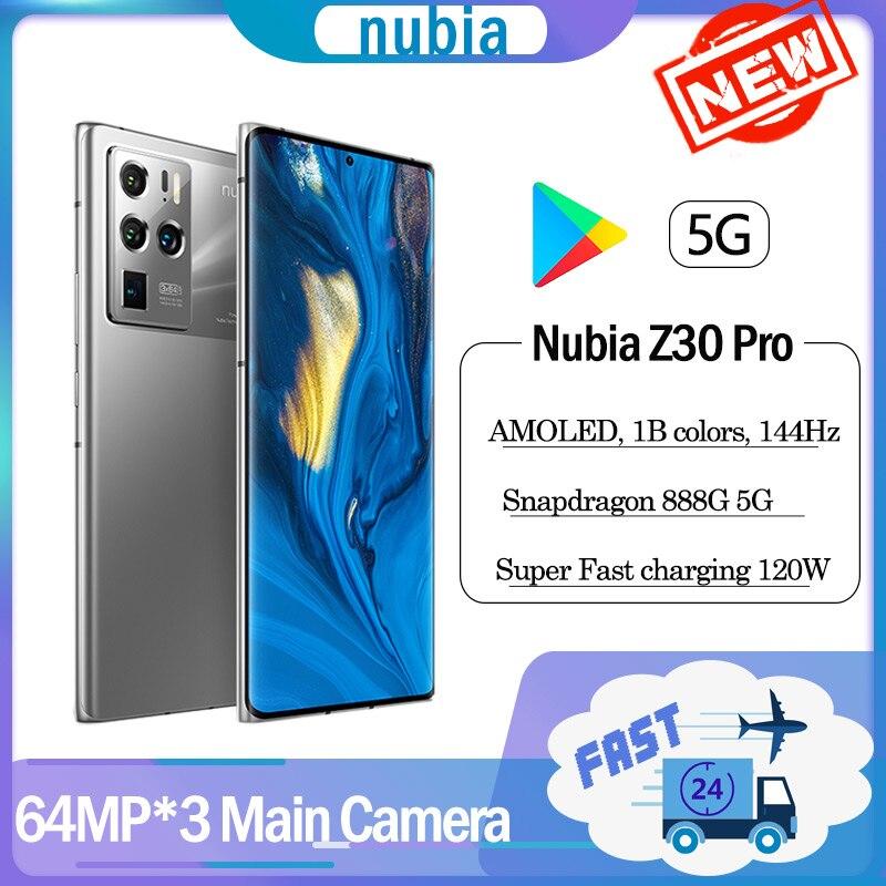 Новый оригинальный ZTE Nubia Z30 Pro 5G смартфон устройство, док-станция Qualcomm Snapdragon 888 120 Вт Супер Зарядное устройство 64MP Камера * 3 мобильного телефон...