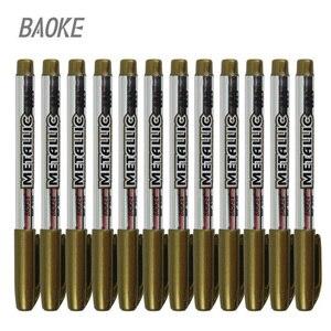 12Pcs Paint Pen Metal Color Pen Technology Gold And Silver 1.5mm Up Paint Pen Student Supplies Art Marker Pen Set