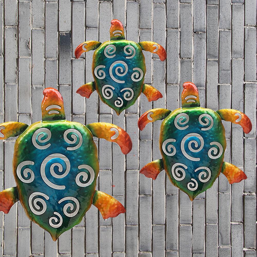 3Pcs Turtle Design Wall Ornament Creative Wall Hanging Decor Home Backdrop Adorn