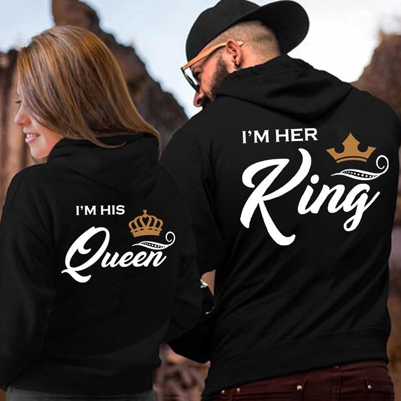 Her King His Queen Couple Hooded Print Sweatshirt Casual Letter Long Sleeve Winter Women Hoodies 2020 Cute Hoody