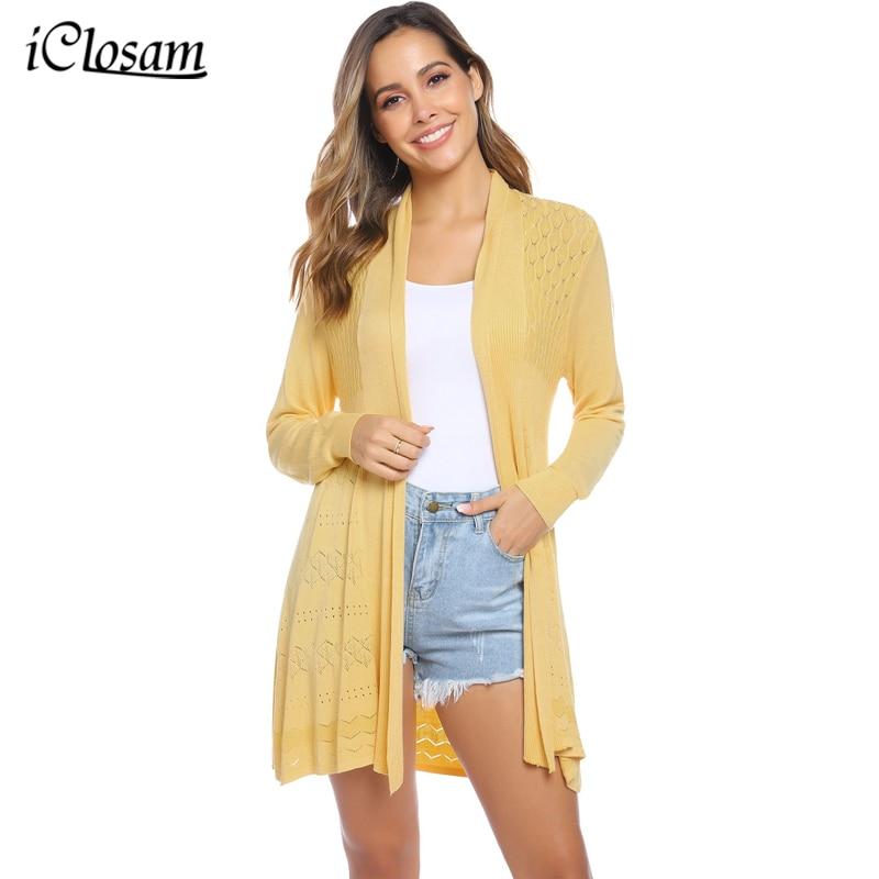IClosam, otoño 2019, nuevo cárdigan de punto informal para mujer, frente abierto, manga larga, medio largo, cálido cárdigan a cuadros, suéter suave