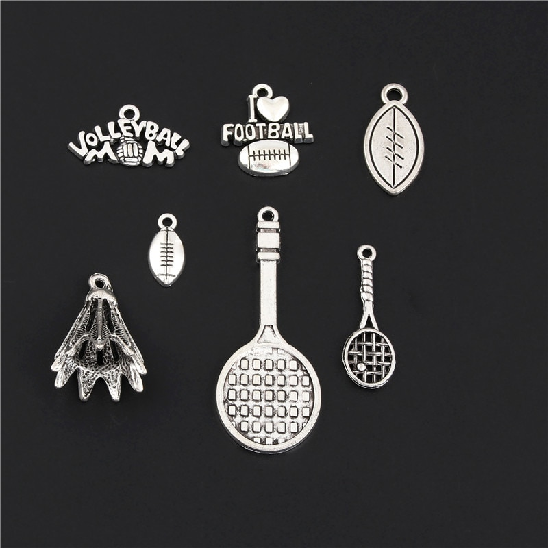 14 pçs mix prata cor raquete de badminton e encantos beisebol vôlei esportes pingente jóias fazendo diy artesanal m124