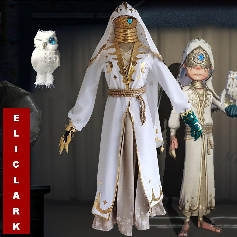 Jogo identidade v cosplay trajes seer eli clark fase lunar pele cosplay traje branco ternos longos anime roupas cosplay traje