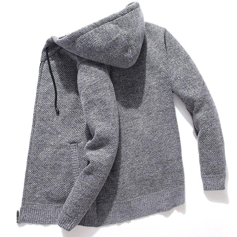 Мужской вязаный свитер с капюшоном, флисовый кардиган оверсайз, мужской свитер, Зимние Повседневные однотонные толстовки, свитер, мужские в...