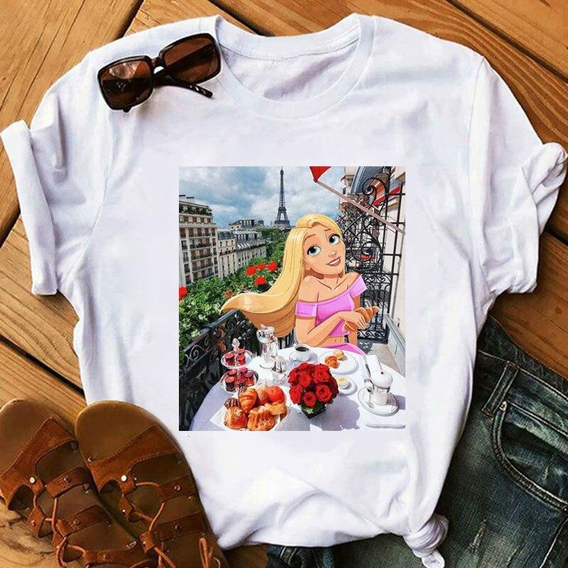 Bonito princesa fantasia dos desenhos animados imprimir moda feminina casual manga curta camiseta bonito menina moderno kawaii diversão estética t camisa