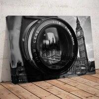 Affiche dart de paysage de la tour ariel  1 piece  sous camera noire et blanche  imprimee sur toile  pour peinture murale de maison