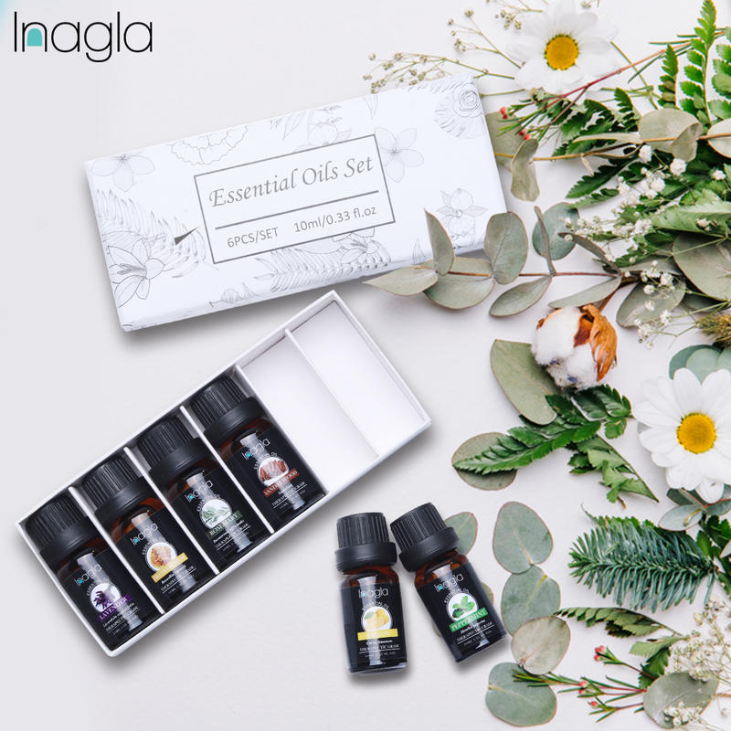 Inagla 6PCS/SET Essential Oils Kits 10ml Aromatherapy Peppermint Jasmine Natural Aroma Oil Massage O