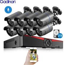 Gadinan-Kit de sécurité 8CH 4 mp HDMI POE   NVR, système de sécurité CCTV, enregistrement Audio extérieur 4,0 mp, caméra IP, vidéosurveillance, disque dur 2 to