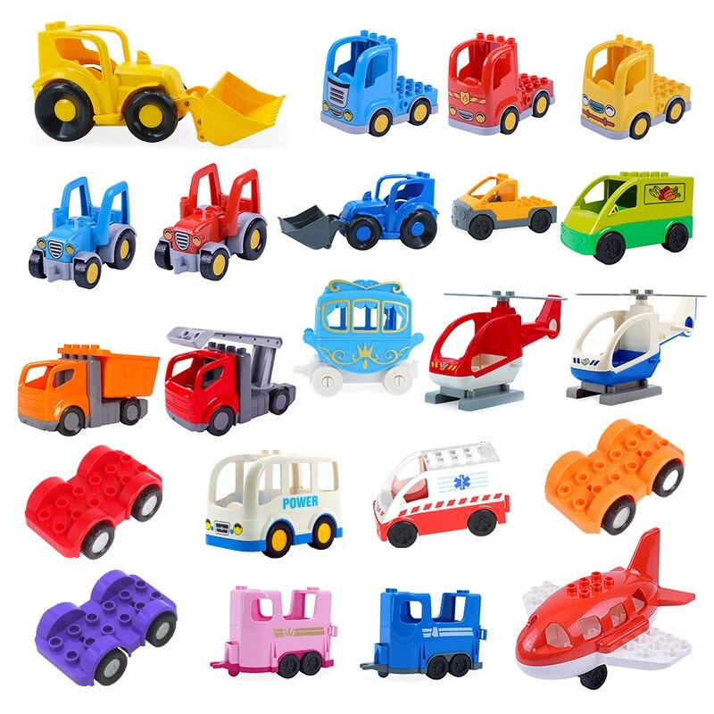 DIY Big Size Building Blocks Accessories Car Truck Plane Motorcycle Vehicle Bricks Compatible Brands Parts Kids Toys Gift