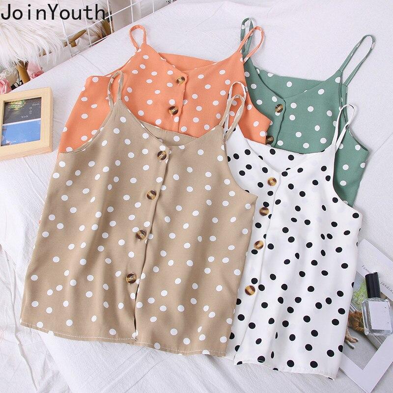Joinyouth Polka Dot Summer Tops Women Sexy Sleeveless V-neck Tanks Single Breasted Korean Slim Camis 2020 New Sling Vest 58226