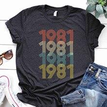 Женская Повседневная футболка в подарок на день рождения, Винтажная футболка с 1981 оригинальными деталями, Милая футболка, женские футболки, женская одежда 2020 Футболки      АлиЭкспресс