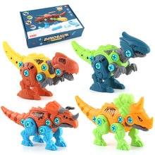 4PCS DIY Assembly For Children Dinosaur Tyrannosaurus Rex Triceratops Unicorns Building Blocks Toys