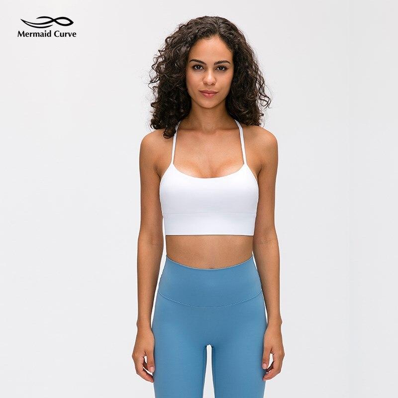 Sereia curva fluxo y sutiã yoga superior copos removíveis apoio leve pilates esportes sutiã clássico racerback mínimo costuras sutiãs de fitness