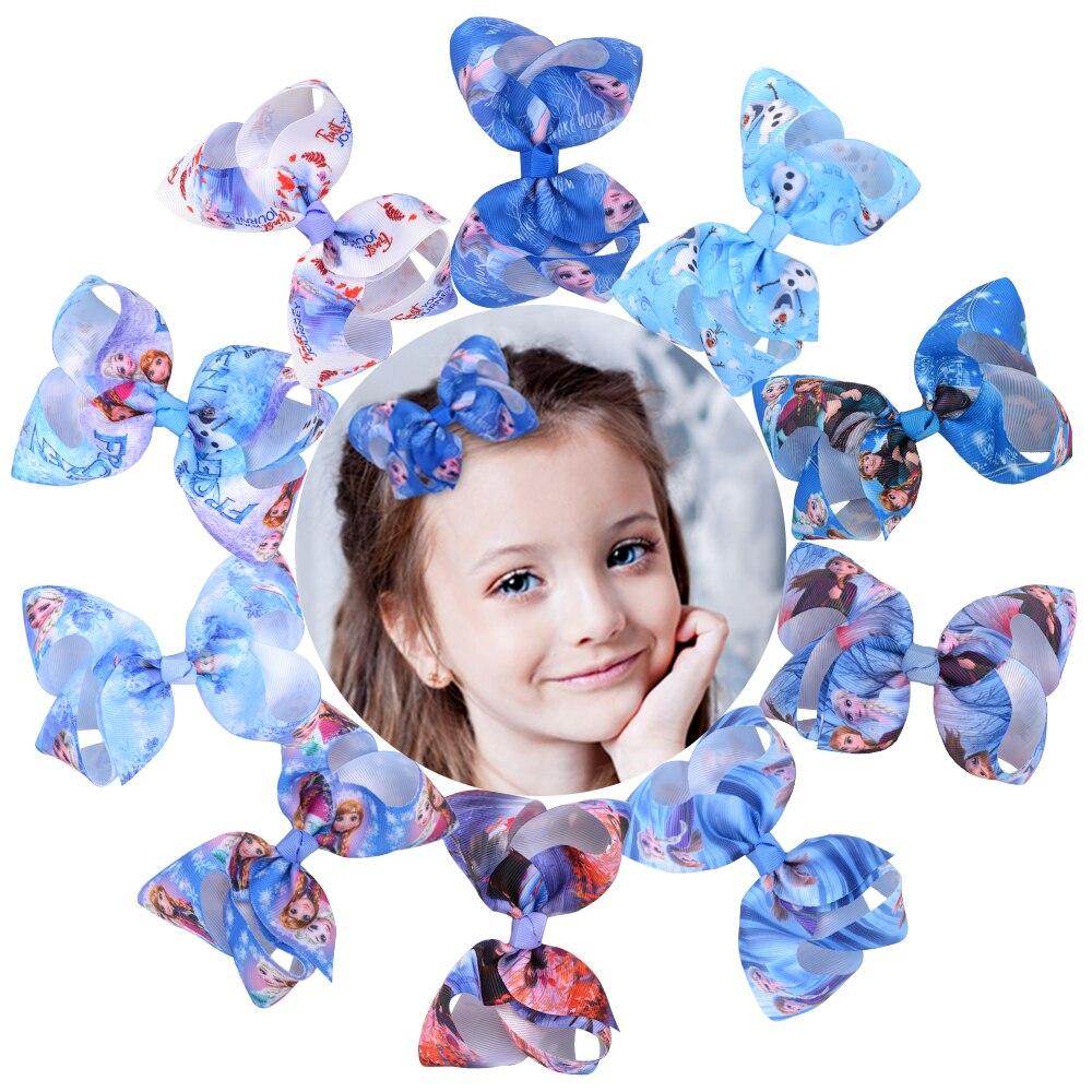 2pcs/lot Princess Hair Bows with Clip Queen Grosgrain Ribbon Clip Boutique For Baby Girls Barrettes Headwear Hair Accessories