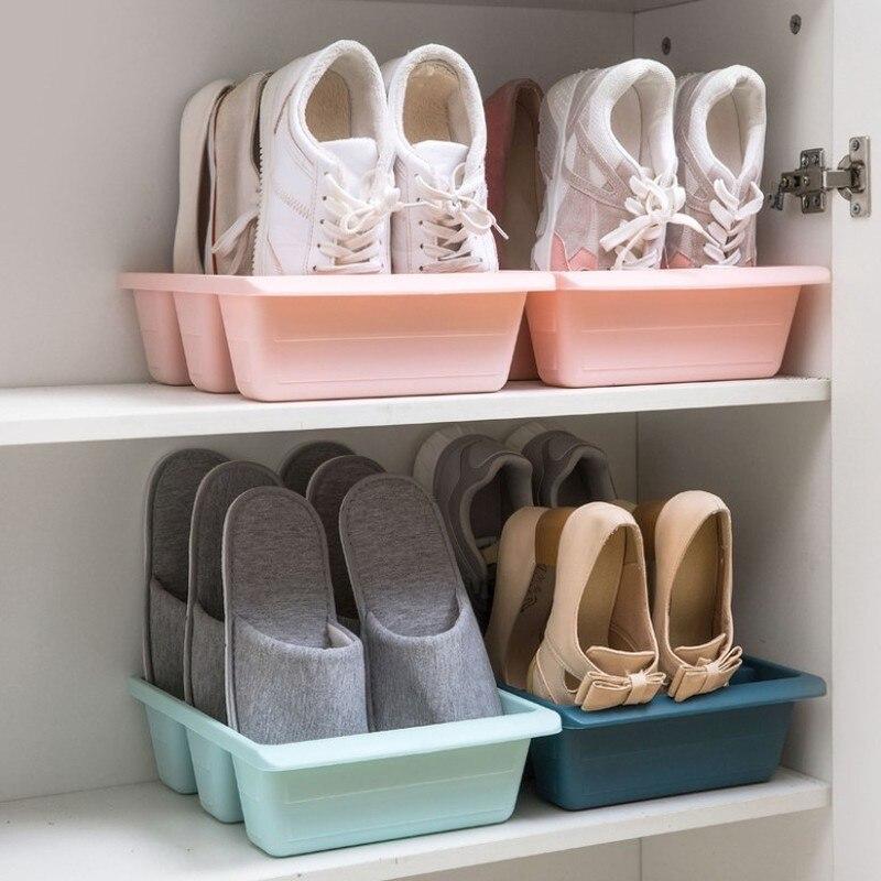 Caja de almacenamiento de zapatos Vertical de 3 rejillas de plástico grueso, Color sólido, organizador de estante de zapatos para el hogar, armario de almacenamiento combinado de zapatos