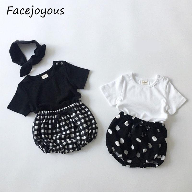 Комплект летней одежды из 3 предметов для новорожденных девочек, хлопковая Повседневная футболка с короткими рукавами, топ + шорты + повязка ...