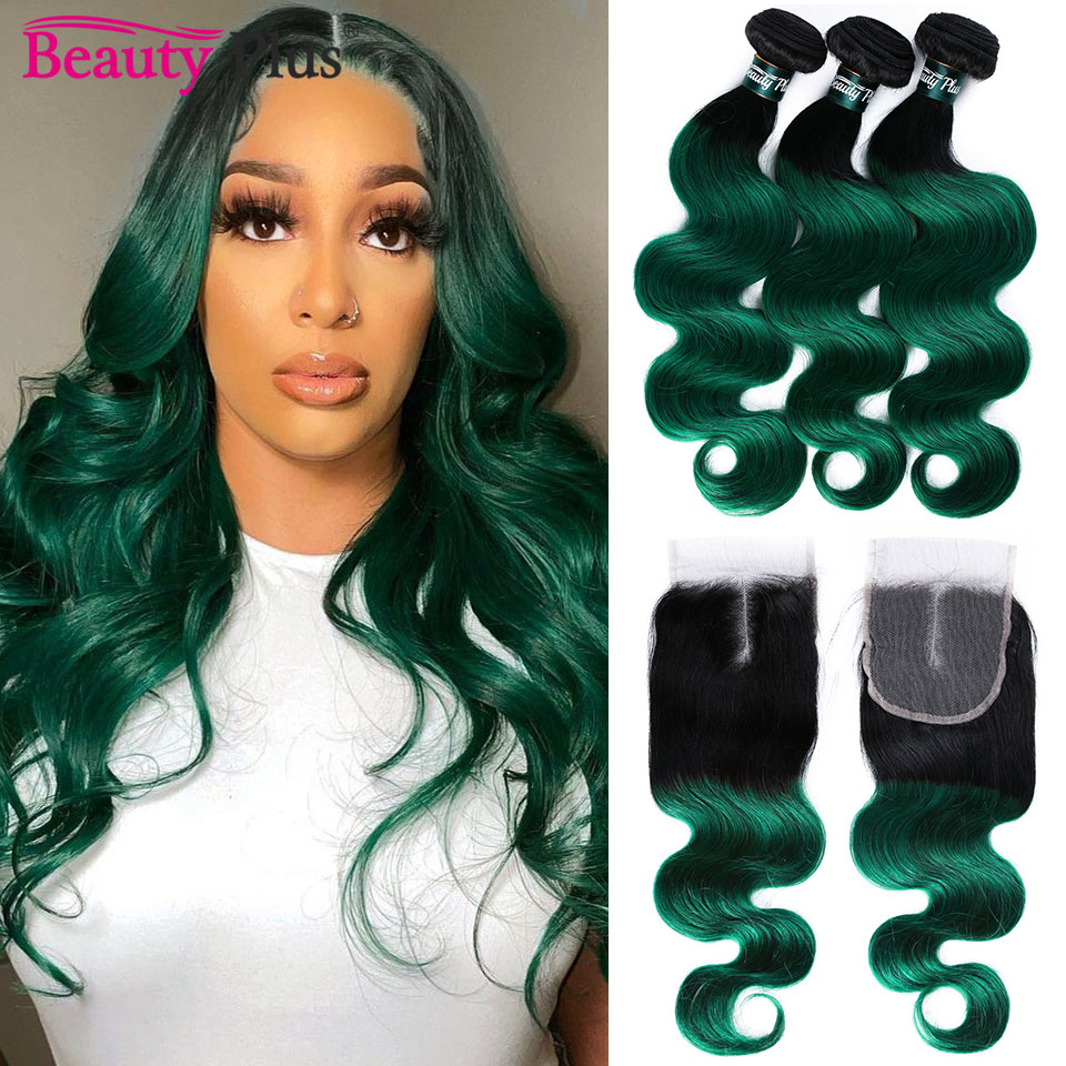 Green Body Wave Hair Bundles With Closure Ombre 1B Turquoise Remy Brazilian Human Hair Weave 3 Bundles And 4x4 Lace Closures