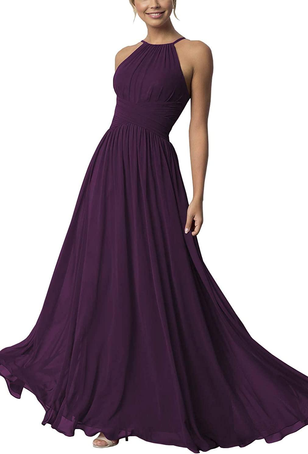 Женские платья подружки невесты с лямкой на шее, длинные шифоновые официальные платья, вечернее праздничное платье, женские вечерние элега...