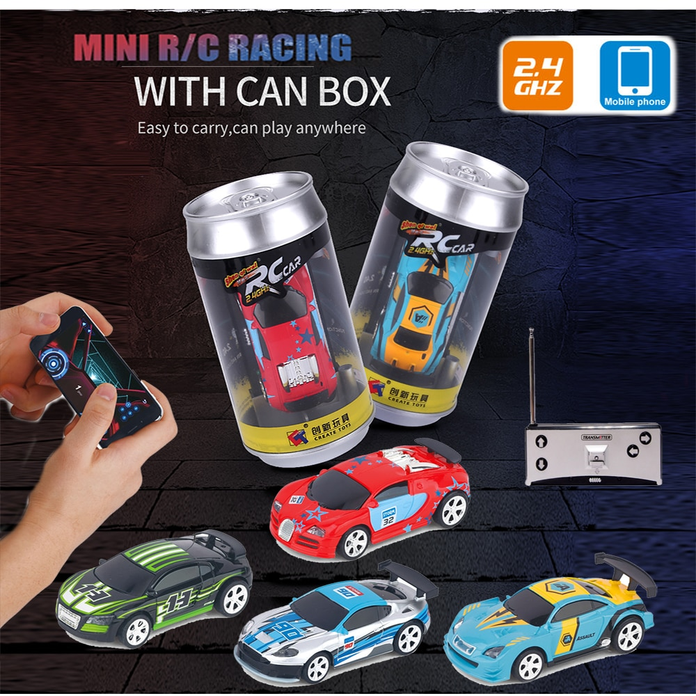 1:58 Remote Control MINI RC Car Battery Operated Racing Car PVC Cans Pack Machine Drift-Buggy Blueto