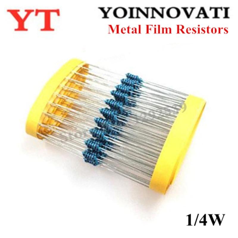 100 шт./лот 1/4 Вт 10 к 10 кОм +/-1% 0,25 Вт Металлические пленочные резисторы
