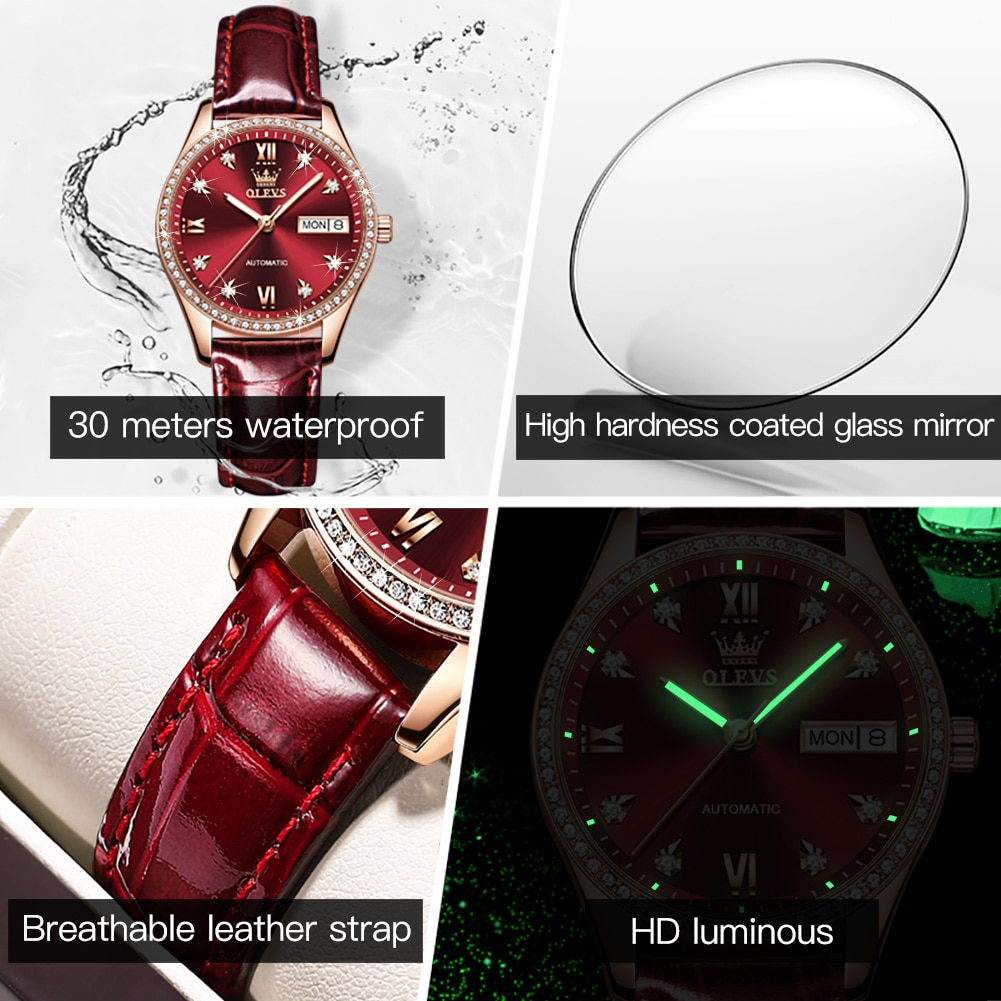 OLEVS New Fashion Casual Fully Automatic Mechanical Women Diamond Day Date Display Luminous Watch Hands Waterproof Watches 6637 enlarge