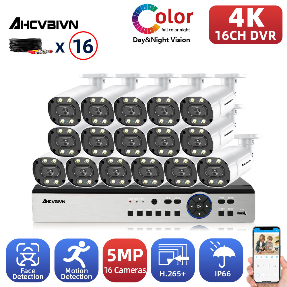 AHCVBICN 4K DVR كاميرا تلفزيونات الدوائر المغلقة الأمن نظام كيت 5mp 16CH في الهواء الطلق اللون للرؤية الليلية فيديو مراقبة العهد كاميرا بشكل قبة نظام