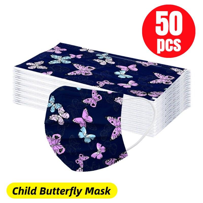 50 pçs crianças borboleta máscara facial descartável crianças filtro máscara de higiene mascarilla desecível masque criança mascarillas mujer Másc.    -