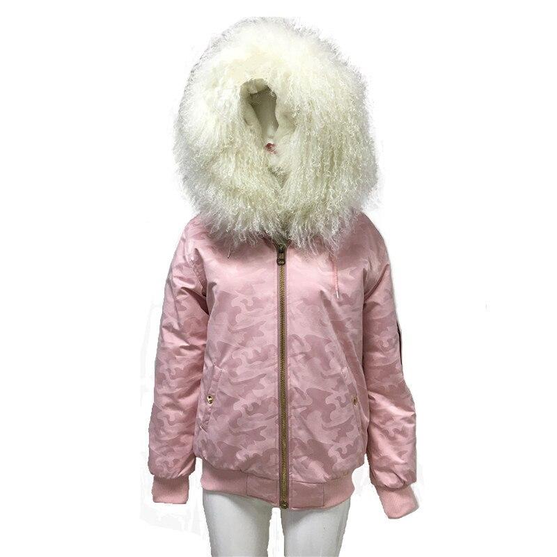 Rose Camouflage veste courte pour les femmes riz blanc réel agneau col de fourrure manche côté fermeture éclair S-4XL fausse fourrure doublure manteau