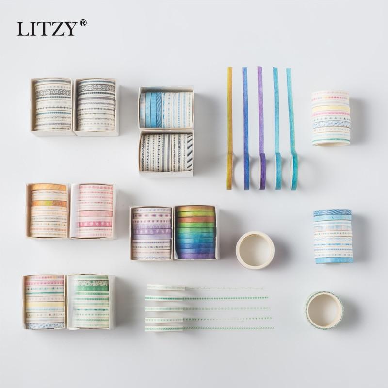 10 unids/caja cinta Washi bonita japonesa decoración DIY planificador de colección de recortes papel adhesivo ancho Etiqueta de cinta adhesiva papelería
