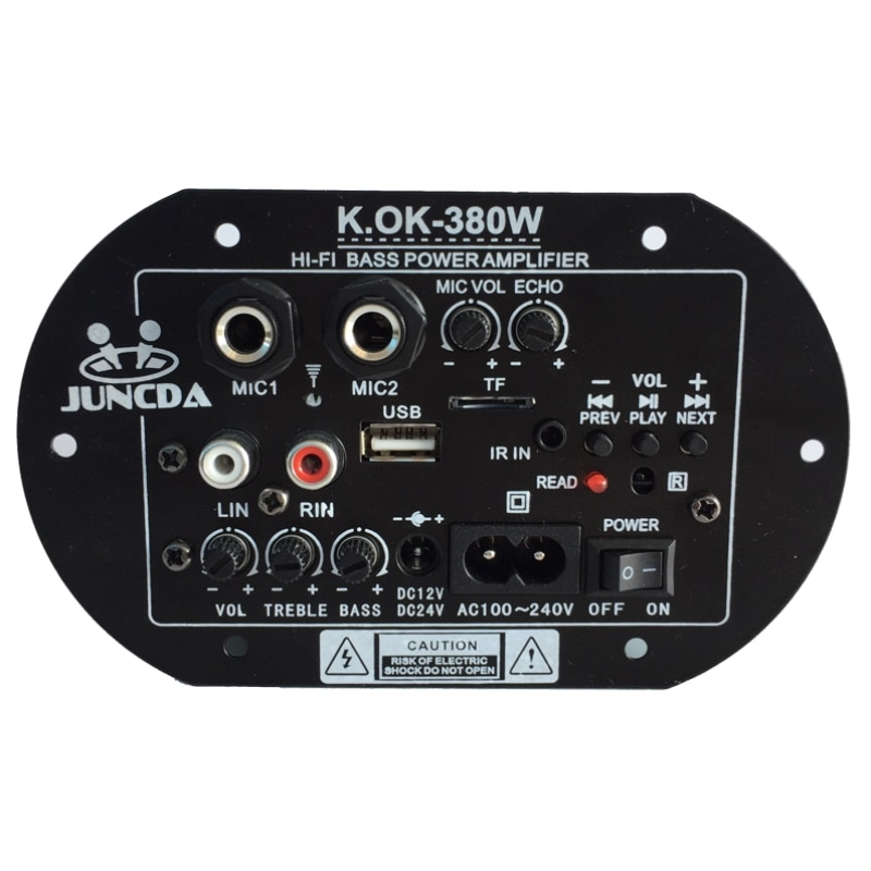 KOK-380 AC 220 В 12 В 24 в цифровой Bluetooth усилитель плата сабвуфер двойной микрофон караоке усилители автомобильный домашний усилитель