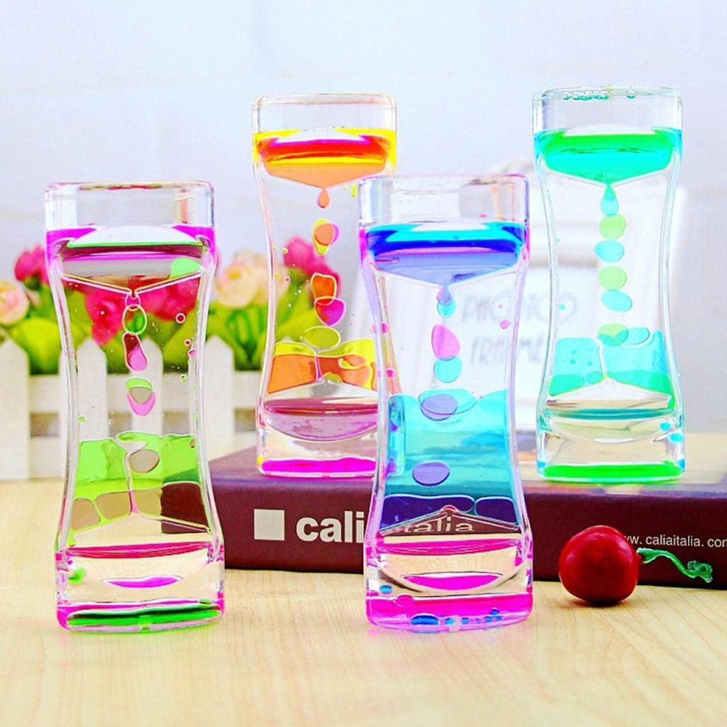 Creativo doble Color flotante líquido aceite acrílico reloj de arena escritorio ornamento líquido movimiento Visual reloj de arena temporizador decoración del hogar