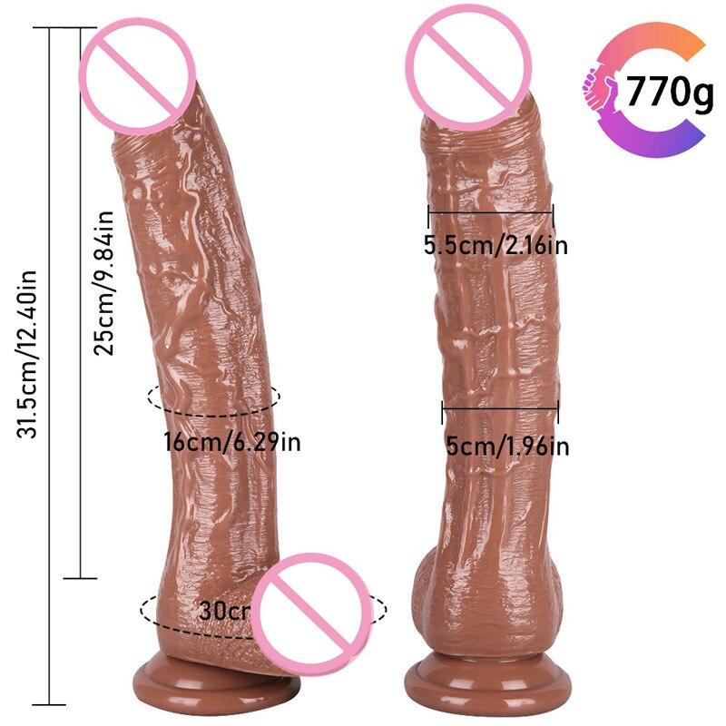 Реалистичный силиконовый огромный член, 12,4 дюйма, мягкий реалистичный фаллоимитатор интимные игрушки для женщин точки G, для мастурбации