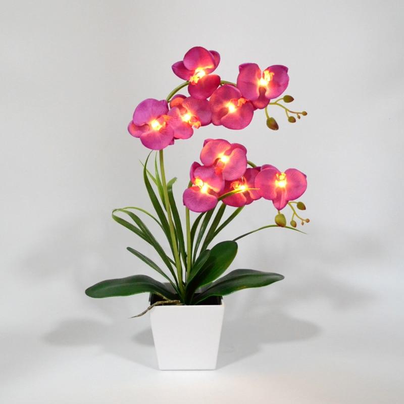 Envío Gratis, luz LED de flores de orquídeas en flor, 9 Uds., LED blanco cálido, flores iluminadas con batería, maceta LED, flor de orquídeas, bonsái