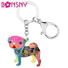 Bonsny émail carlin chien porte-clés pour femmes sac pendentif porte-clés voiture accessoires 2018 nouveaux breloques mode bijoux cadeaux