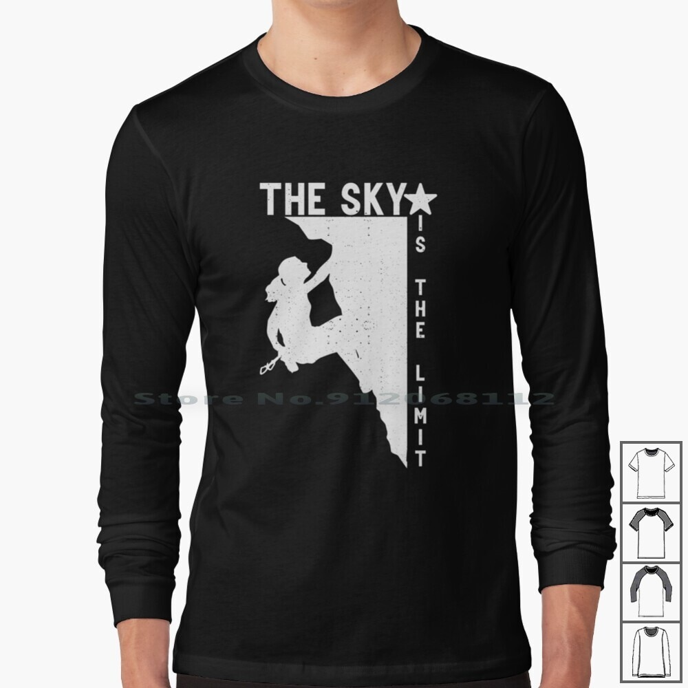 The Sky Is The Limit Climbing Girls Women Mountain Long Sleeve T Shirt Sky Starry Sky Summit Nature Lover Climber Mountaineer