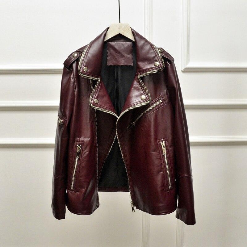Las mujeres chaqueta Casual nuevo 2020 primavera otoño suelto de manga larga de cremallera corta de piel abrigos moda femenina con cremallera negro Pu prendas de vestir