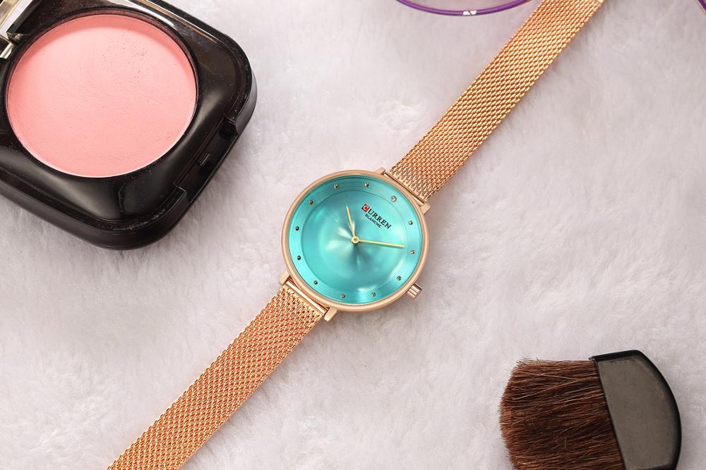 CURREN Rose Gold Watch Rhinestone Green Quartz Women Bracelet Watch Female Clock Stainless Steel Mesh Clock Wrist Watch enlarge