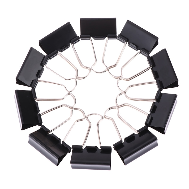10 Stack% 2Fbatch Black Metal Binder Clips 19mm% 2F25Mm% 2F32Mm Notes Letter Paper Clip Office Supplies Binding Secure Clips