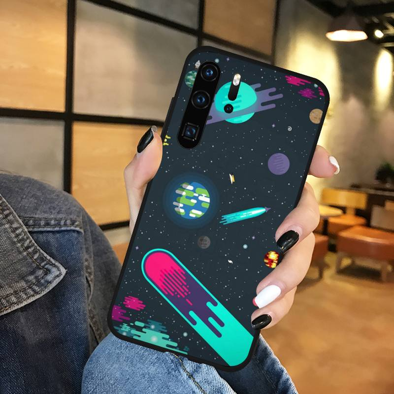Cartoon space planet universe Phone Case Funda For Huawei P9 P10 P20 P30 Lite 2016 2017 2019 plus pro P smart